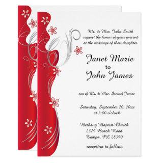 Modern Floral Wedding | Deep Red and Silver Invitations
