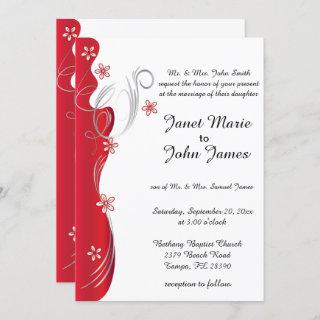 Modern Floral Wedding | Deep Red and Silver Invitation