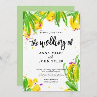 Modern Floral Yellow Green Violet Calligraphy Invitation