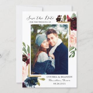 Modern Frame Burgundy Blush Floral Photo Save The Date