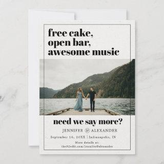 Modern Funny Free Cake Open Bar Quote Photo Save The Date