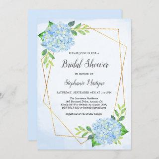 Modern Geometric Blue Hydrangea Bridal Shower Invitations