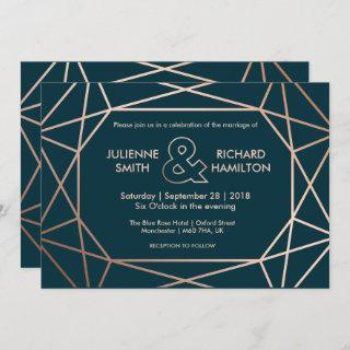 Modern Geometric Diamond Shaped Wedding Invitations