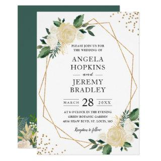 Modern Geometric Frame Nature Green Floral Wedding Invitations