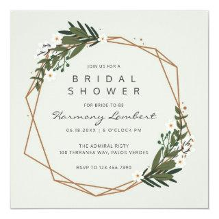 Modern Geometric Gold Frame Greenery Bridal Shower Invitations