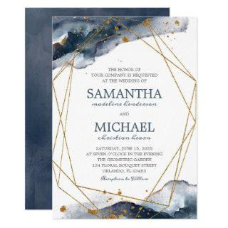 Modern Geometric Navy Blue Gold Watercolor Wedding Invitations