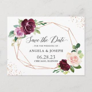 Modern Geometric Purple Blush Floral Save the Date Invitations Postcard