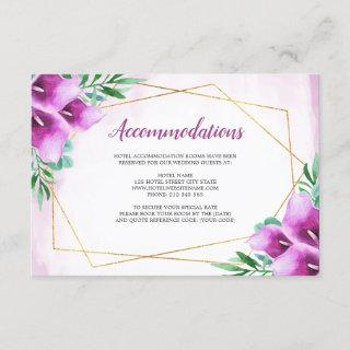 Modern Geometric Purple Calla Lily Accommodations Enclosure Card