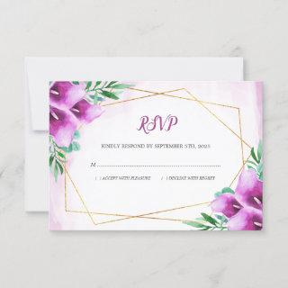 Modern Geometric Purple Calla Lily Floral Wedding RSVP Card