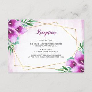 Modern Geometric Purple Lily Wedding Reception Enclosure Card