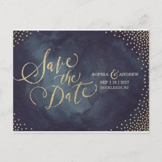 Modern glam gold glitter calligraphy save the date announcement postcard