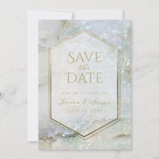 Modern Glitter Marble & Gold Photo Save the Date Holiday Card
