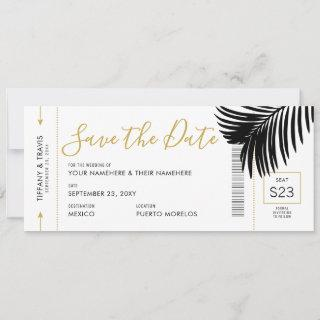 Modern Gold Black Palm Destination Boarding Pass Save The Date