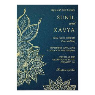 Modern Gold Blue Galaxy Henna Indian Wedding Invitation