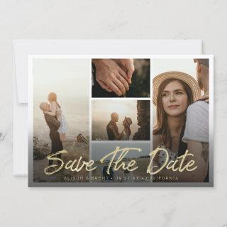 Modern Gold Brush Script Typography with Pictures Save The Date