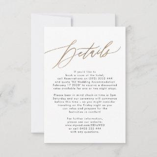 Modern Gold Calligraphy Wedding Enclosure Card