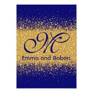 Modern Gold Glitter and Royal Blue Invitations