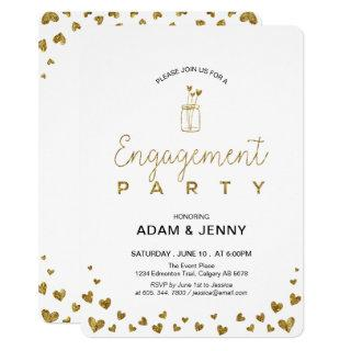 Modern Gold Heart Engagement Party Invitation