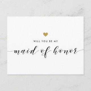 Modern Gold Hearts Be My Maid of Honor Invitation Postcard