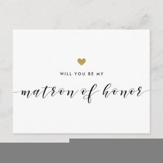 Modern Gold Hearts Be My Matron of Honor Invitations Postcard