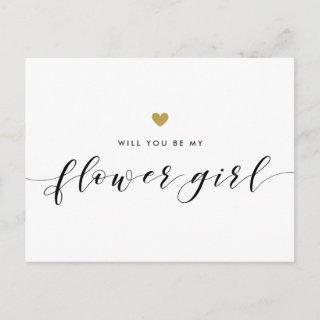 Modern Gold Hearts Will You Be My Flower Girl Invitations Postcard