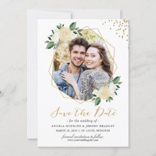 Modern Gold Ivory Green Floral Photo Save the Date