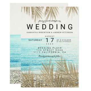 Modern gold palm tree elegant beach photo wedding Invitations