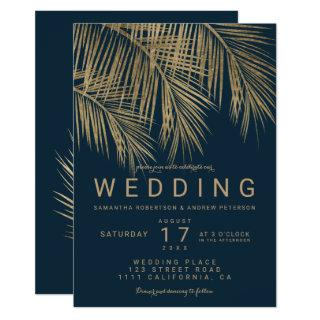 Modern gold palm tree elegant nay blue wedding Invitations
