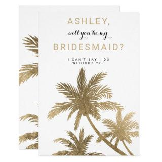 Modern gold palm trees tropical Bridesmaid Invitations