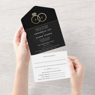 Modern Gold Rings Black and White Wedding All In One Invitations