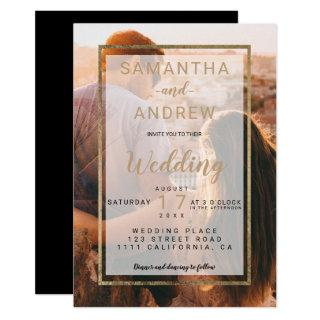 Modern gold simple monogram photo script wedding Invitations
