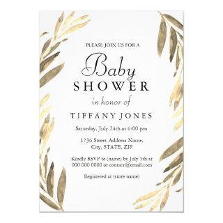Modern Golden Leaf girl or boy Baby Shower Invite