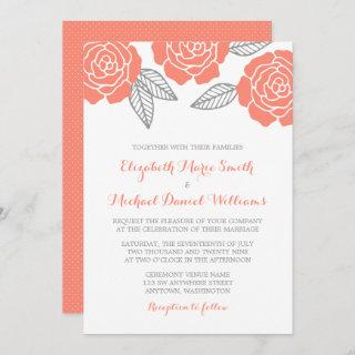 Modern Gray and Coral Rose Wedding Invitations