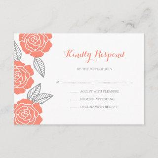 Modern Gray and Coral Rose Wedding RSVP