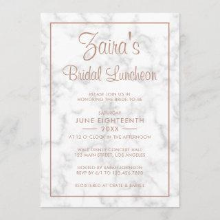 Modern Gray Marble with Rose Gold Bridal Luncheon Invitation