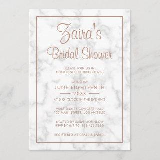 Modern Gray Marble with Rose Gold Bridal Shower Invitations