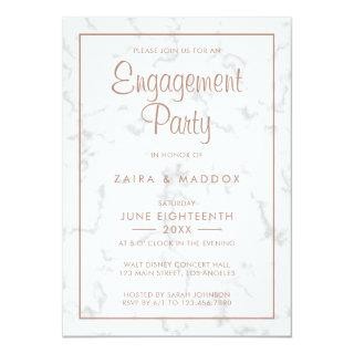 Modern Gray Marble with Rose Gold Engagement Party Invitations