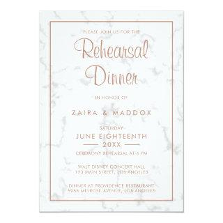 Modern Gray Marble with Rose Gold Rehearsal Dinner Invitation