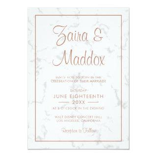 Modern Gray Marble with Rose Gold Script Wedding Invitations