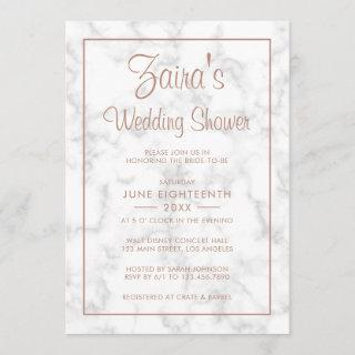 Modern Gray Marble with Rose Gold Wedding Shower Invitations