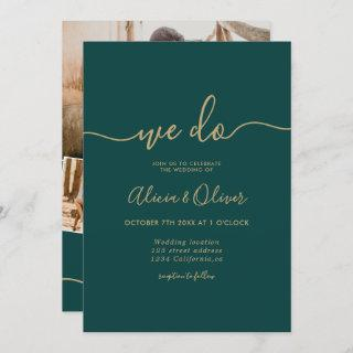 Modern green emerald script photo initials wedding Invitations