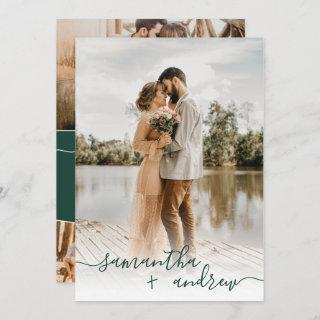 Modern green minimalist script photos wedding Invitations