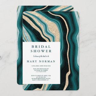 Modern green turquoise agate marble bridal shower invitation