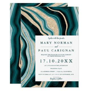 Modern green turquoise agate marble chic wedding invitation