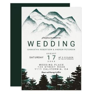 Modern green watercolor forest mountains wedding Invitations