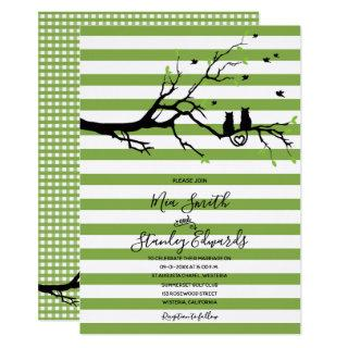Modern Green & White Stripes Cat Theme Wedding Invitation