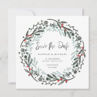 Modern greenery wreath holiday Save the Date Card