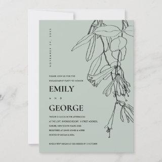 MODERN GREY LINE DRAWING FLORAL ENGAGEMENT INVITE
