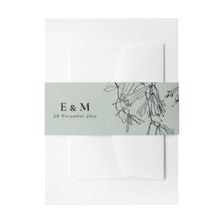 MODERN GREY RUSTIC LINE DRAWING FLORAL WEDDING Invitations BELLY BAND