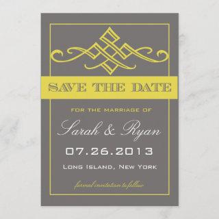 Modern Grey & Yellow Save the Date Announcement